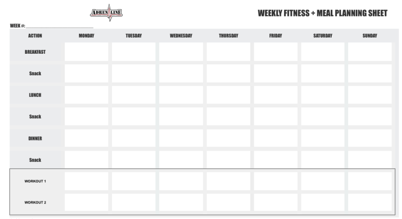 weekly fitness plan template adrenaline 12 week competition fitness and nutrition