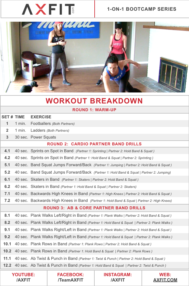 Fun Partner Boot Camp Workout Advanced Cardio & Ab Resistance Band Exercise Ideas
