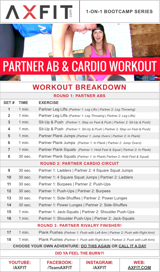 20 Minute Advanced Partner Ab & Cardio Home Workout (Burn ...