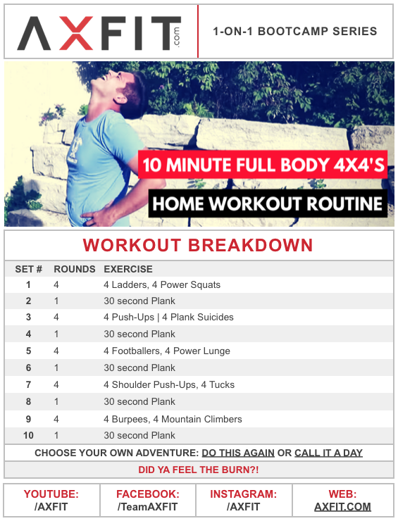 Home Workout Routine 10 Minute Full Body