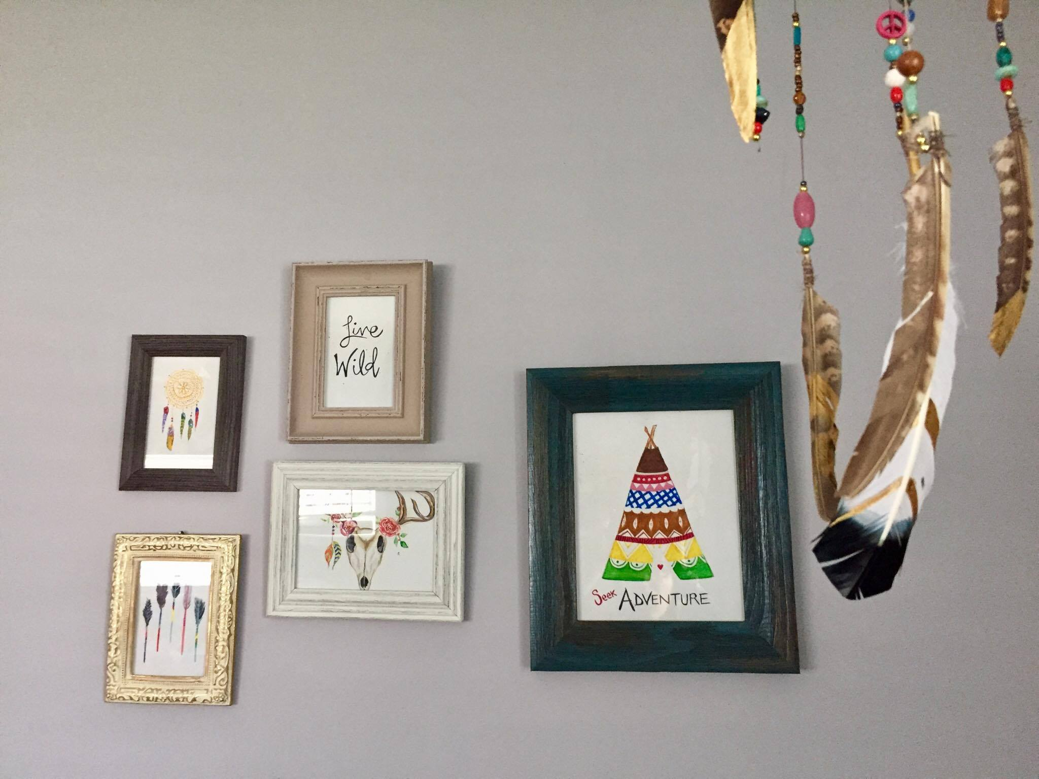 boho watercolour nursery painting
